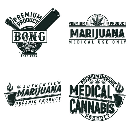 Set of Vintage medical cannabis logo designs,  grange print stamps, creative marijuana typography emblems, Vector Illustration