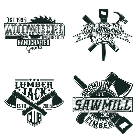 Set of Vintage woodworking logo designs,  grunge print stamps, creative carpentry, and typography emblems