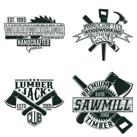 Zestaw wzorów logo drewna vintage, znaczków drukowania grunge, stolarki stolarskiej i typografii