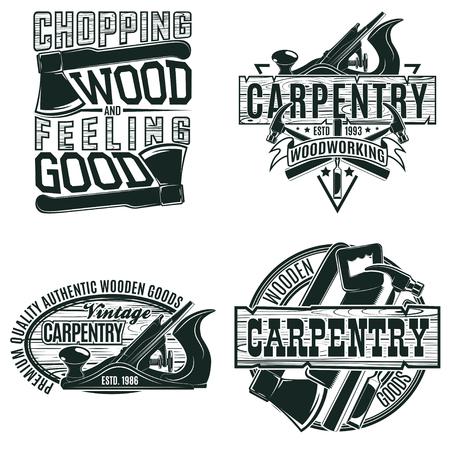 빈티지 목공 로고 디자인, 그레인 인쇄 우표, 크리 에이 티브 목공 타이포그래피 엠블럼, 벡터 세트
