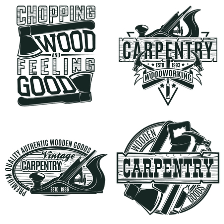 Set of Vintage woodworking logo designs,  grange print stamps, creative carpentry typography emblems, Vector Vectores
