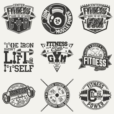 ヴィンテージ t シャツのグラフィック デザインの設定、グランジ印刷スタンプ、フィットネス タイポグラフィ エンブレム、ジム スポーツ ロゴ創造