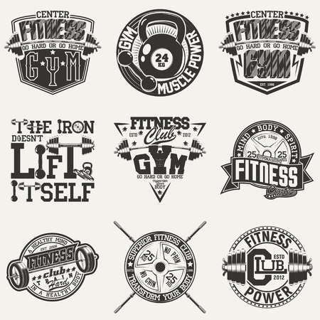 Set of Vintage t-shirt graphic designs,  grange print stamps, fitness typography emblems,  gym sports logo Creative design, Vector Фото со стока - 82681585