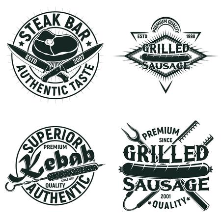 빈티지 바베큐 레스토랑 로고 디자인, 그레인 인쇄 우표, 크리 에이 티브 그릴 바 타이 포 그래피 엠블럼, 벡터 세트