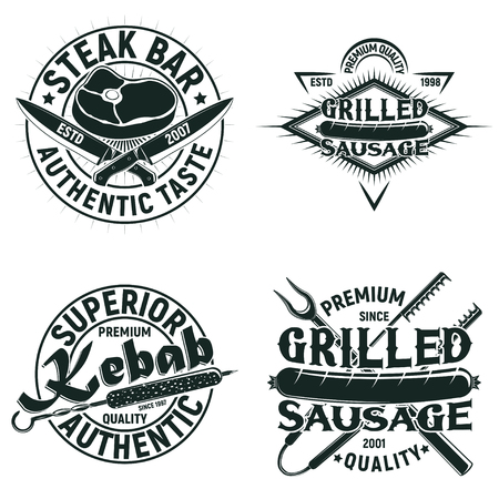 Set of Vintage barbecue restaurant logo designs,  grange print stamps, creative grill bar typography emblems, Vector Фото со стока - 82681600