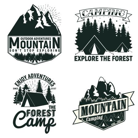 Set of Vintage camping or tourism logo designs,  grange print stamps, creative typography emblems, Vector Illustration