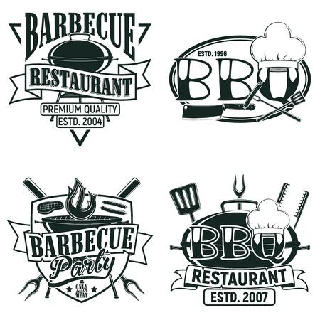 ヴィンテージ バーベキュー レストラン ロゴデザイン、グランジ印刷スタンプ、タイポグラフィ エンブレム、ベクトル バー創造的なグリルのセット  イラスト・ベクター素材