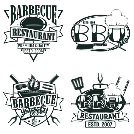 Set of Vintage barbecue restaurant logo designs,  grange print stamps, creative grill bar typography emblems, Vector Фото со стока - 82681595