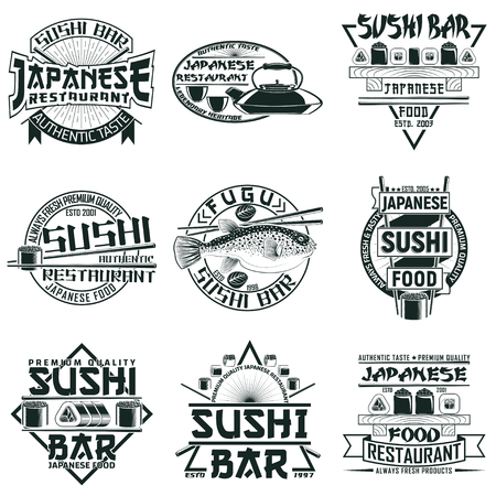 Set of Vintage sushi bar logo designs,  grange print stamps, creative Japanese food typography emblems, Vector Фото со стока - 82673458