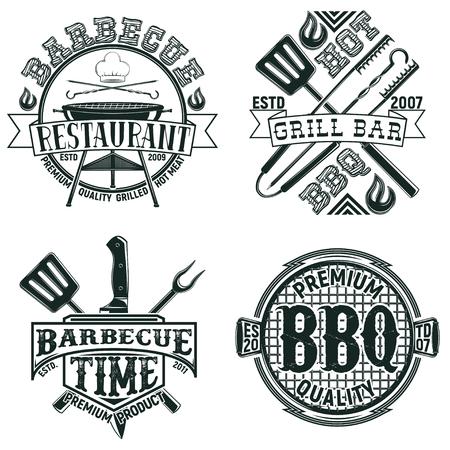 Set of Vintage barbecue restaurant logo designs,  grange print stamps, creative grill bar typography emblems, Vector