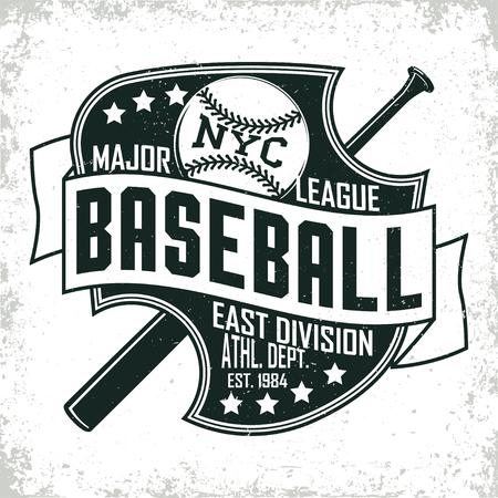 ヴィンテージの t シャツ グラフィック デザイン グランジ印刷スタンプ、野球タイポグラフィ エンブレム、スポーツのロゴ創造的なデザイン、ベク  イラスト・ベクター素材
