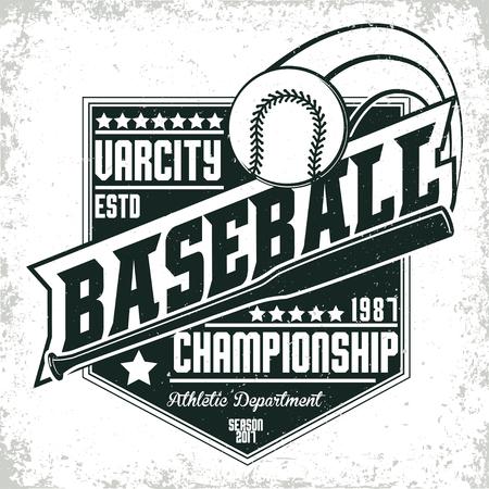 T-shirt vintage design graphique, impression timbre grange, typographie emblème de baseball, logo de sport Creative design, vecteur Banque d'images - 82658252