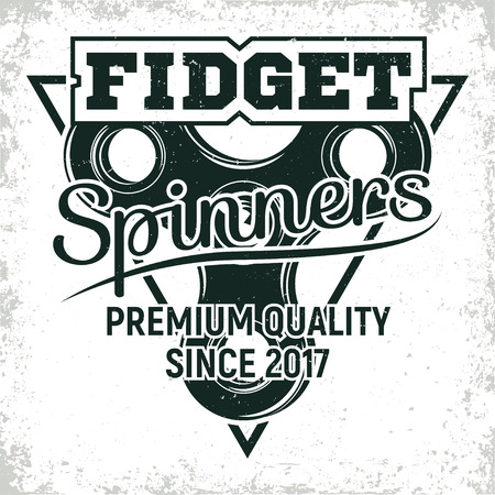 Vintage emblem of fidget spinner shop, hand spinner sign, creative design, vector Illusztráció