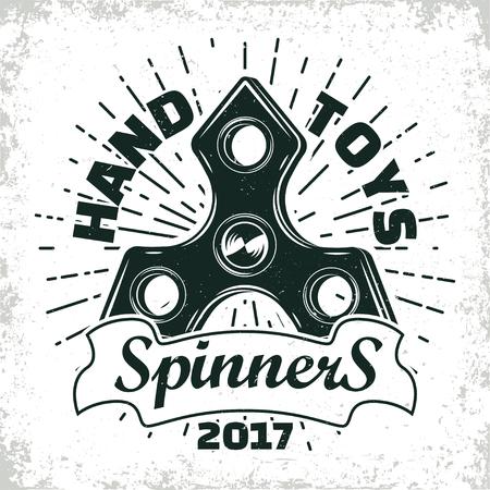 Vintage emblem of fidget spinner shop, hand spinner sign, creative design, vector Ilustração