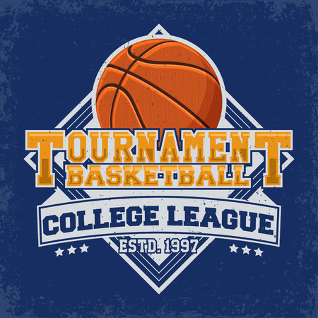 Vintage t-shirt graphic design, print stamp, basketball typography emblem, Creative design, Vector