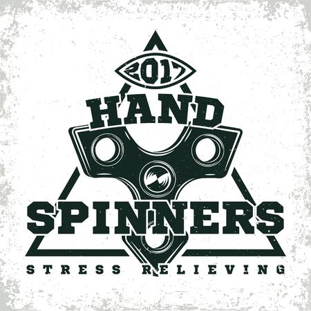 Vintage emblem of fidget spinner shop, hand spinner sign, creative design, vector Иллюстрация