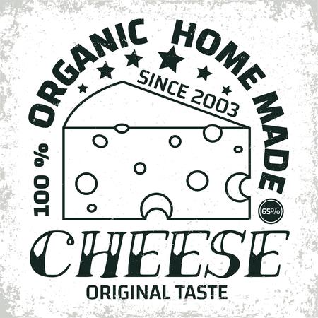 Diseño gráfico de logo vintage, sello de impresión, emblema de tipografía cheesemaker, diseño creativo, vector Foto de archivo - 88071218