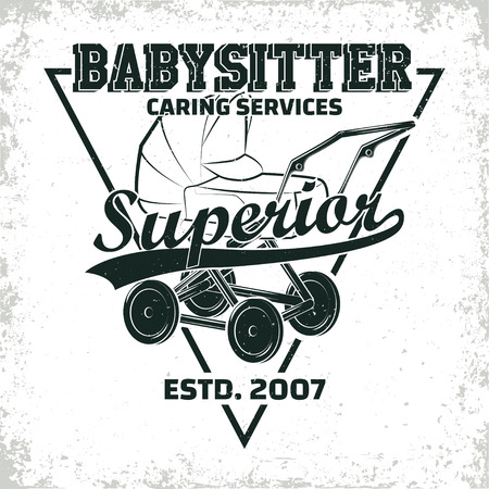 Vintage logo graphic design, print stamp, babysitter typography emblem, Creative design, Vector Ilustracja