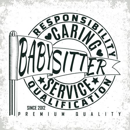 Vintage logo graphic design, print stamp, babysitter typography emblem, Creative design, Vector Illustration