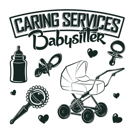 Set for vintage emblem design with monochrome signs of baby pacifier and rattle, baby carriage and bottle, elements for babysitter logo design, isolated on white background, vector Иллюстрация