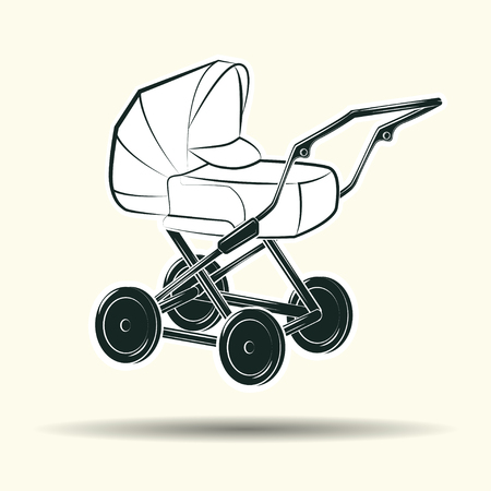 Baby carriage monochrome sign, element for vintage babysitter logo design, isolated on white background, vector