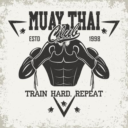 Emblema d'epoca del club Muay Thai, sport logo design creativo, vettore Archivio Fotografico - 88993145