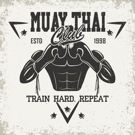 Vintage emblem of Muay Thai club, sports logo creative design, vector