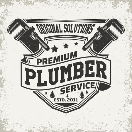 Vintage creative  plumber logo concept graphic design.
