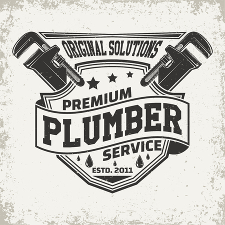 Vintage creative  plumber logo concept graphic design.