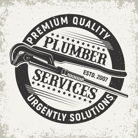 빈티지 크리 에이 티브 배관공 로고, 엠 블 럼 개념 그래픽 디자인.