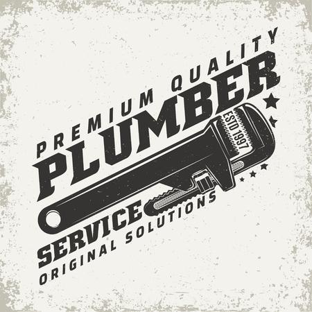 Vintage logo graphic design for plumber services vector illustration  イラスト・ベクター素材