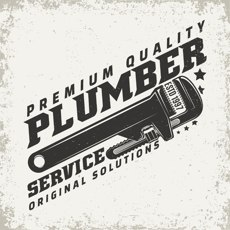 Vintage logo graphic design for plumber services vector illustration Vettoriali
