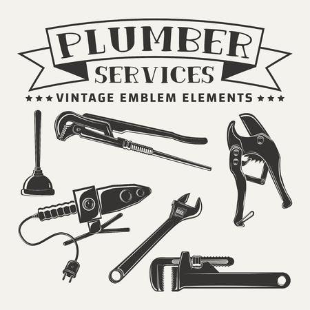 配管工ロゴ デザイン、白い背景で隔離のための要素のベクトルをパイプ カッター、パイプ兵士鉄、パイプ wrenchs とプランジャーのモノクロ徴候ヴィ  イラスト・ベクター素材