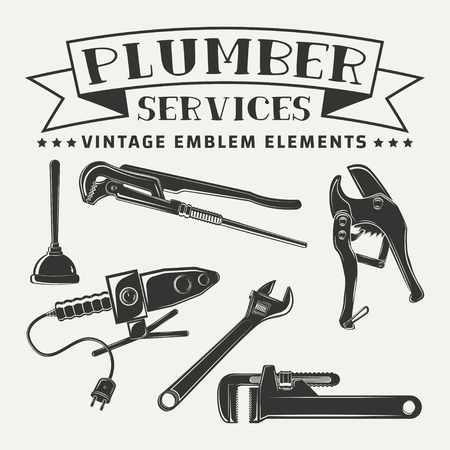 Set for vintage emblem design with monochrome signs of pipe cutter and pipes solider iron, pipe wrenchs and plunger, elements for plumber logo design, isolated on white background, vector Illustration