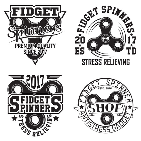 Set of vintage hand spinners graphic designs, print stamps, fidget spinners typography emblems, Creative design.