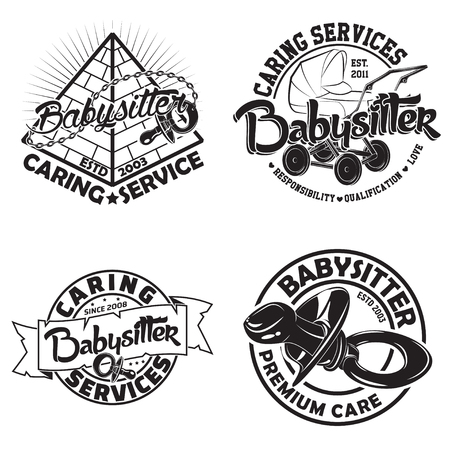 Set of vintage graphic designs, print stamps, babysitter typography emblems, Creative design.