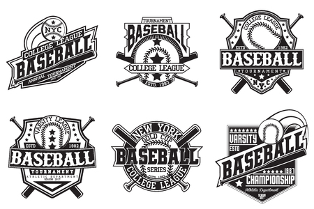 Set of vintage t-shirt graphic designs,  print stamps, baseball typography emblems, sports logos, Creative design, Vector