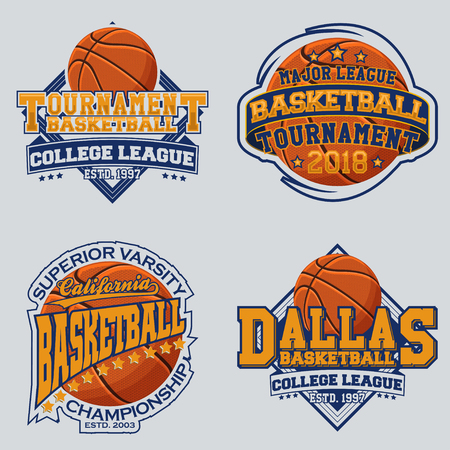 Set of vintage t-shirt graphic designs, print stamps, basketball typography emblems Çizim