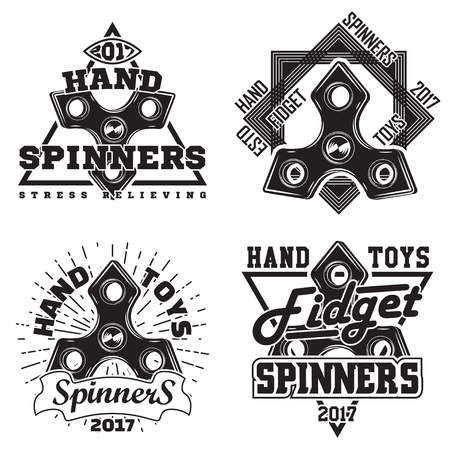 Set of vintage hand spinners graphic designs, print stamps, fidget spinners typography emblems, Creative design, Vector
