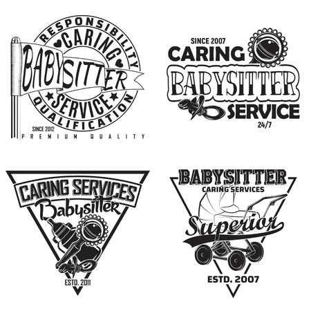 Set of vintage babysitter emblems