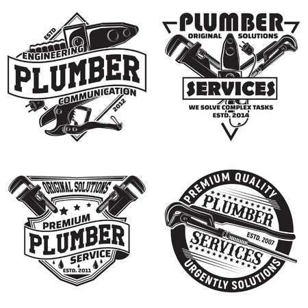 Set of vintage graphic designs, print stamps, plumbers typography emblems, Creative design, Vector