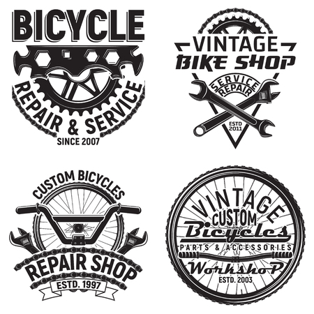 Set of vintage bicycles club logo designs,  downhill bikers grange print stamps, bicycles repair shop creative typography emblems, Vector