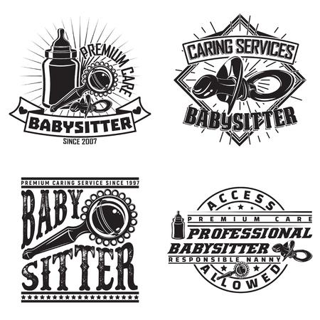 Set of vintage logo graphic designs, print stamps, babysitter typography emblems, Creative design, Vector