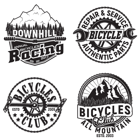 Set of vintage bicycles club designs, downhill bikers grange print stamps, bicycles repair shop creative typography emblems, Vector Çizim