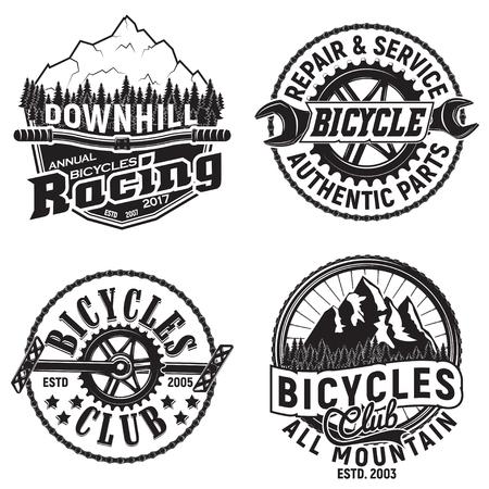 Set of vintage bicycles club designs, downhill bikers grange print stamps, bicycles repair shop creative typography emblems, Vector Illustration