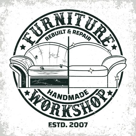 Vintage furniture workshop logo designs,  workshop grange print stamps, furniture repair shop creative typography emblems, Vector