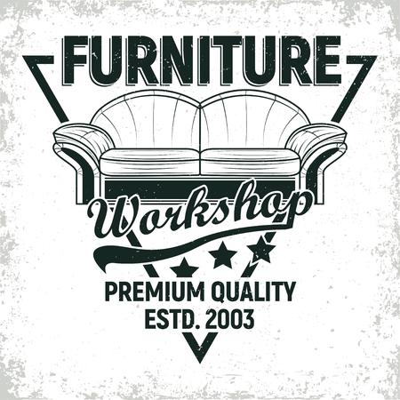 Projekty logo warsztatów mebli w stylu vintage, pieczątki z nadrukiem folwarku warsztatowego, warsztaty naprawy mebli kreatywne emblematy typografii, wektor