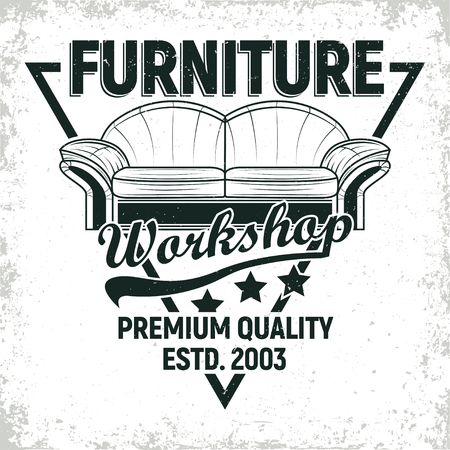 Vintage furniture workshop logo designs,  workshop grange print stamps, furniture repair shop creative typography emblems, Vector