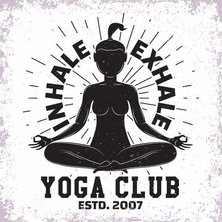 Vintage t-shirt graphic design,  grange print stamp, yoga club or studio typography emblem, sports logo Creative design, Vector