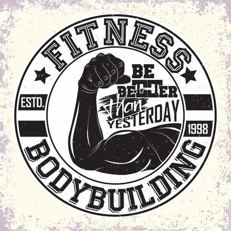 Vintage t-shirt graphic design,  grange print stamp, fitness typography emblem,  gym sports logo Creative design, Vector Фото со стока - 100914375